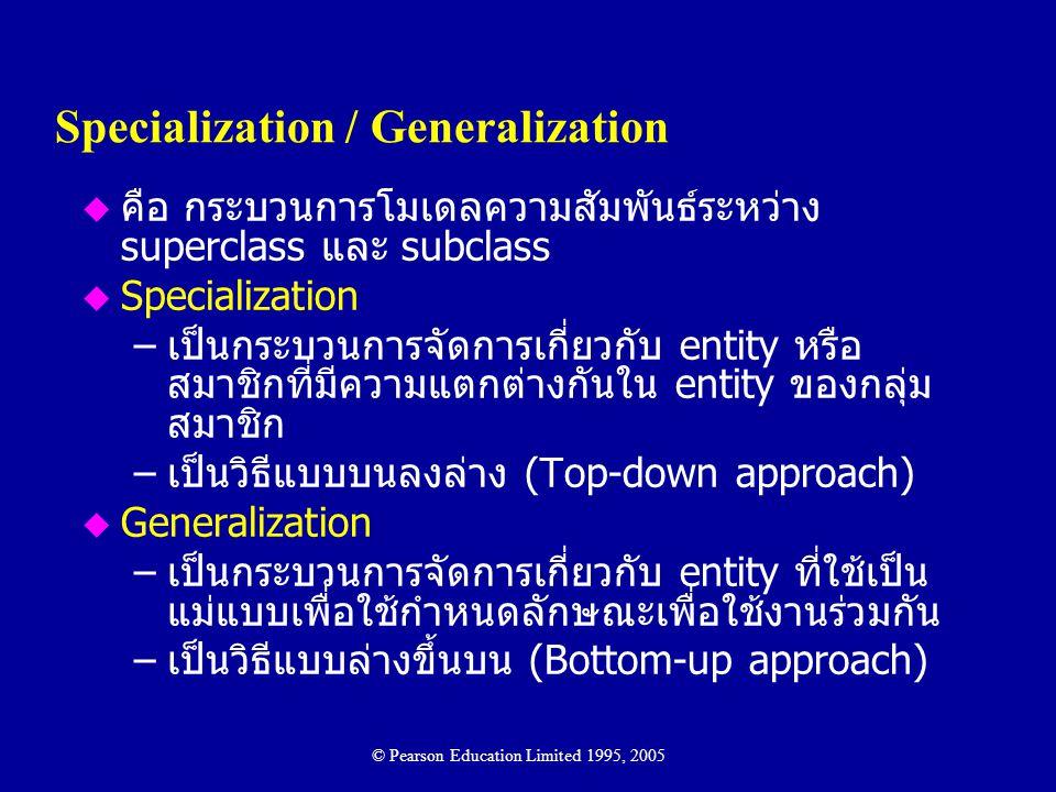 Specialization / Generalization