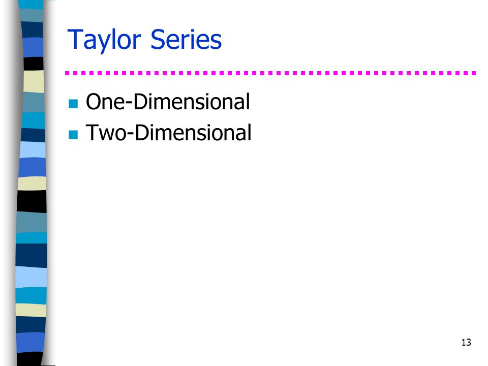 Taylor Series One-Dimensional Two-Dimensional