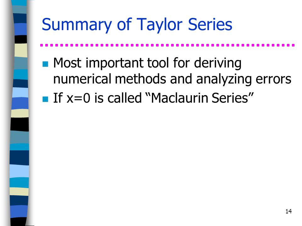 Summary of Taylor Series