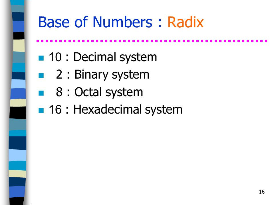 Base of Numbers : Radix 10 : Decimal system 2 : Binary system