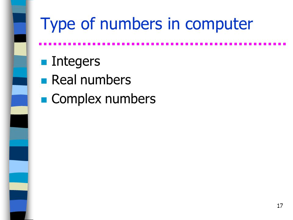 Type of numbers in computer