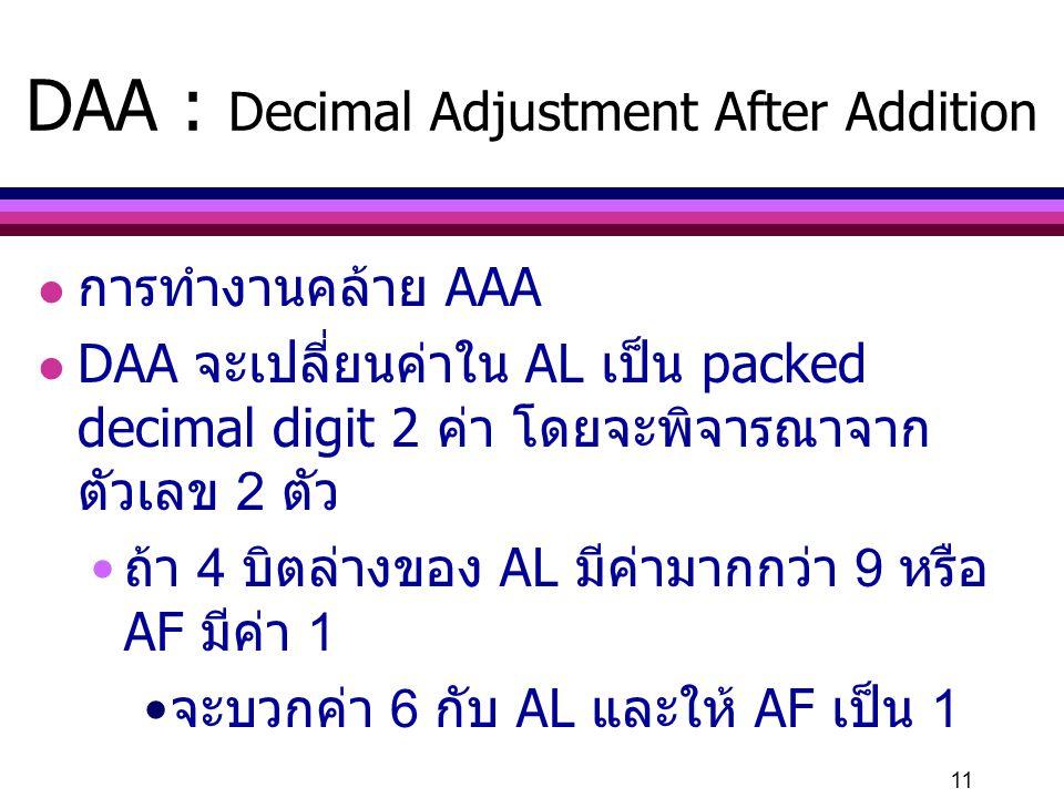 DAA : Decimal Adjustment After Addition