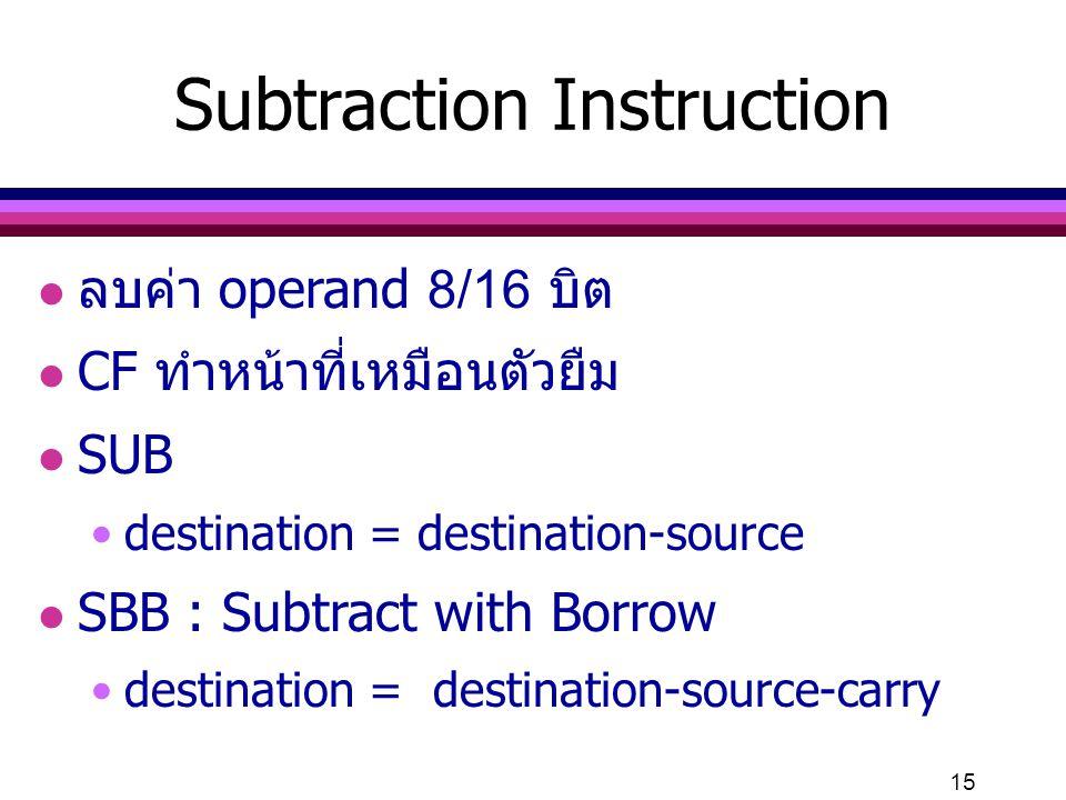 Subtraction Instruction