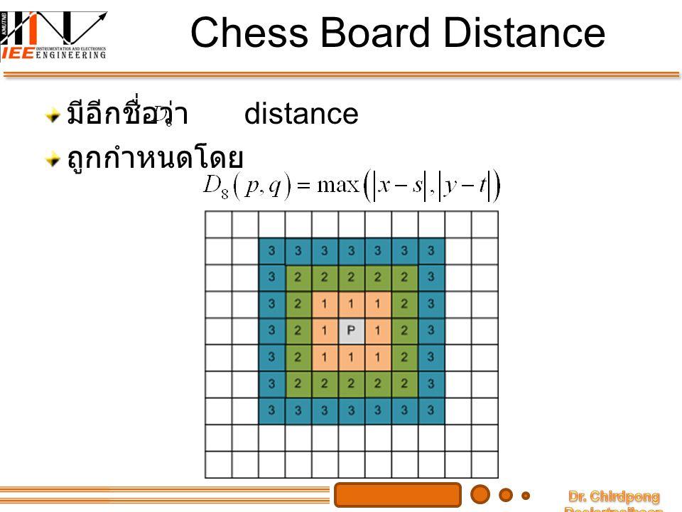 Chess Board Distance มีอีกชื่อว่า distance ถูกกำหนดโดย
