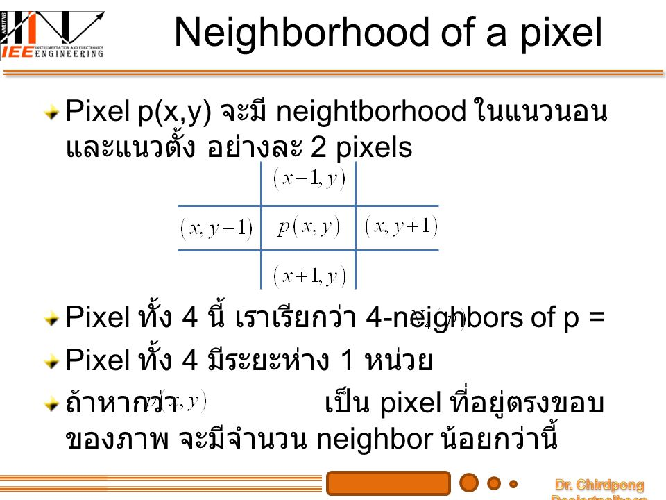 Neighborhood of a pixel