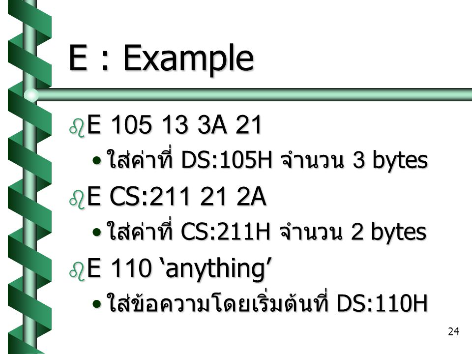 E : Example E 105 13 3A 21 E CS:211 21 2A E 110 'anything'