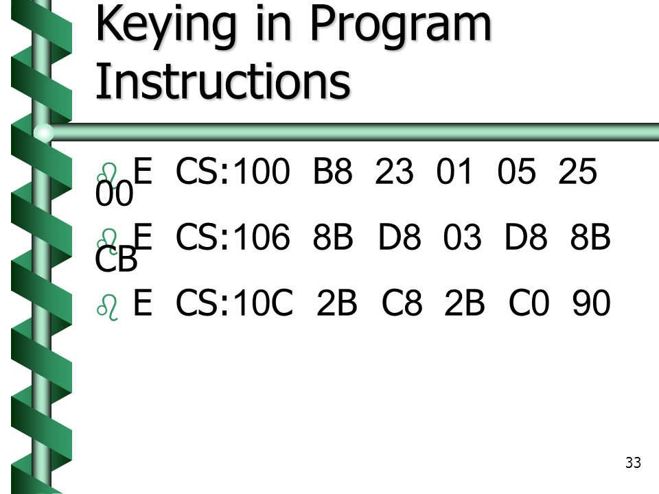 Keying in Program Instructions