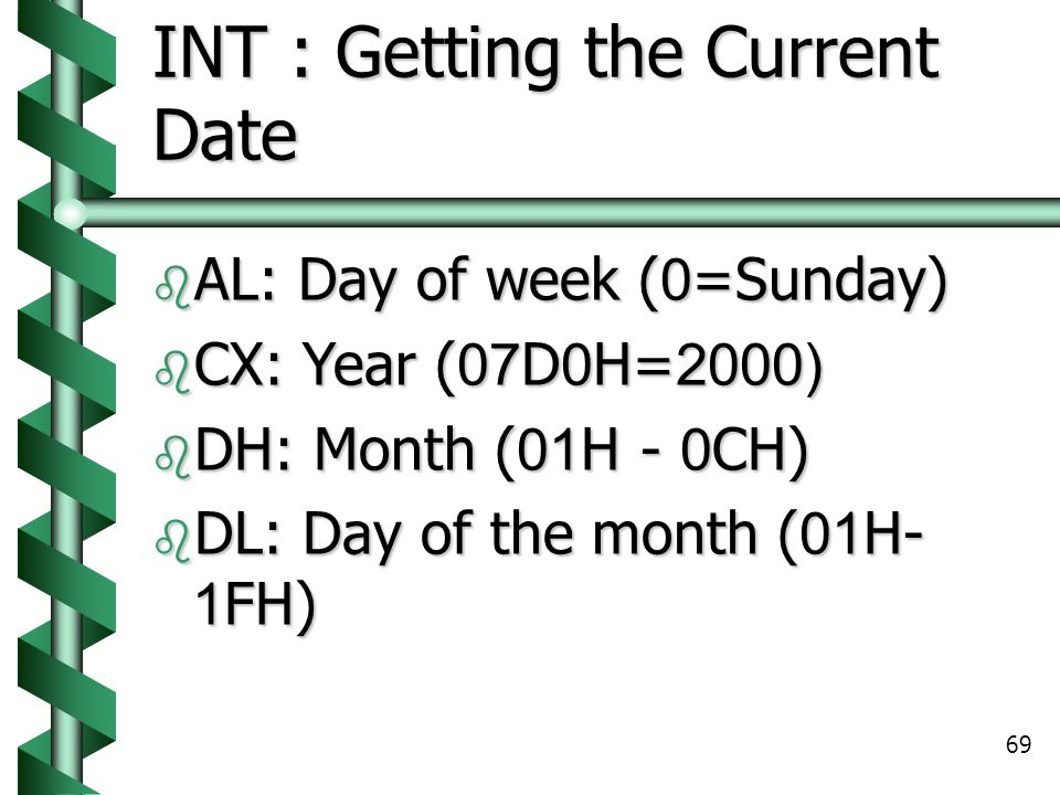 INT : Getting the Current Date