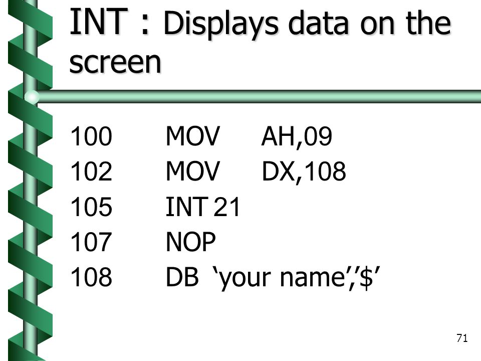INT : Displays data on the screen