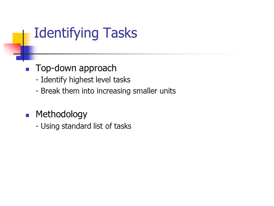 Identifying Tasks Top-down approach Methodology