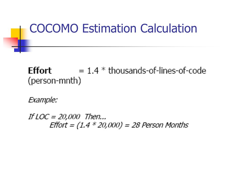 COCOMO Estimation Calculation