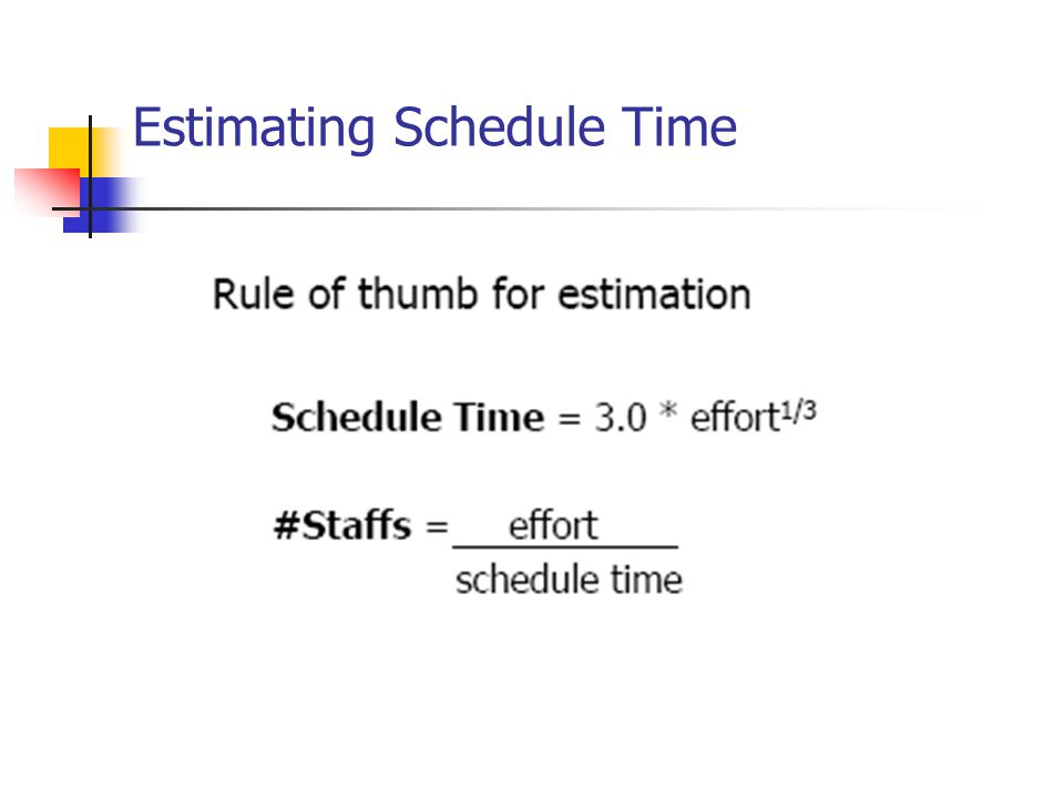 Estimating Schedule Time