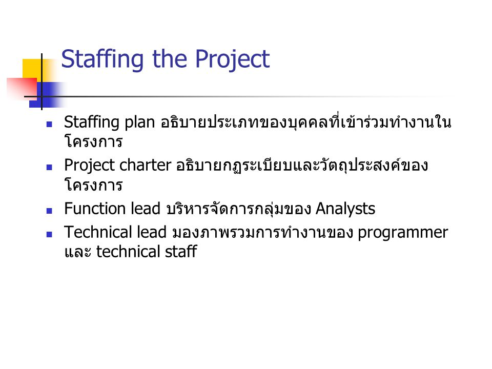 Staffing the Project Staffing plan อธิบายประเภทของบุคคลที่เข้าร่วมทำงานในโครงการ. Project charter อธิบายกฏระเบียบและวัตถุประสงค์ของโครงการ.