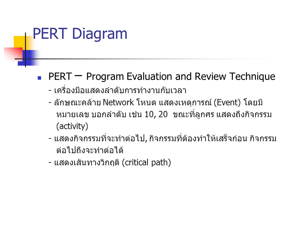PERT Diagram PERT – Program Evaluation and Review Technique