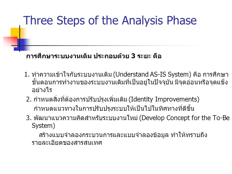 Three Steps of the Analysis Phase