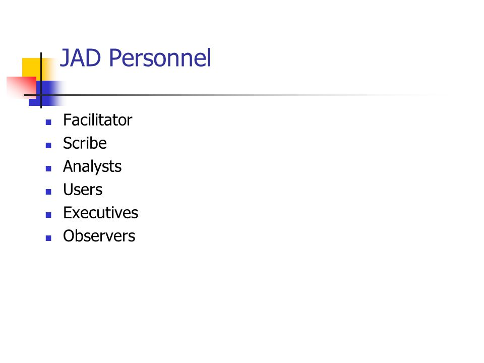 JAD Personnel Facilitator Scribe Analysts Users Executives Observers
