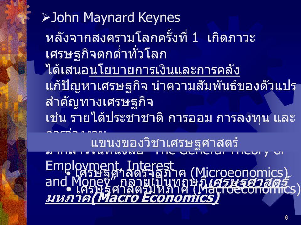 แขนงของวิชาเศรษฐศาสตร์
