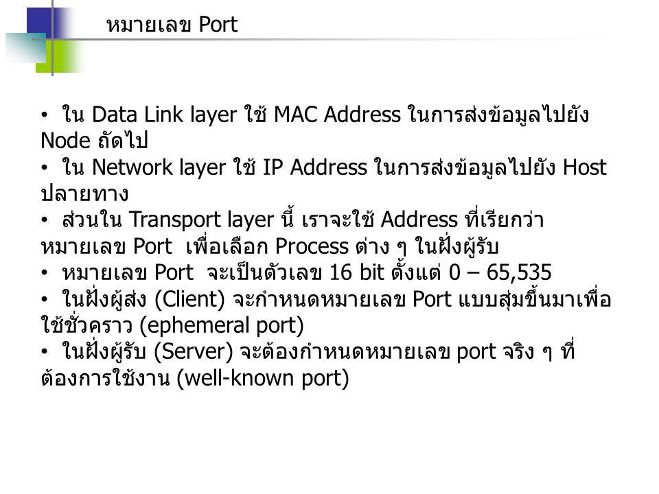หมายเลข Port ใน Data Link layer ใช้ MAC Address ในการส่งข้อมูลไปยัง Node ถัดไป. ใน Network layer ใช้ IP Address ในการส่งข้อมูลไปยัง Host ปลายทาง.
