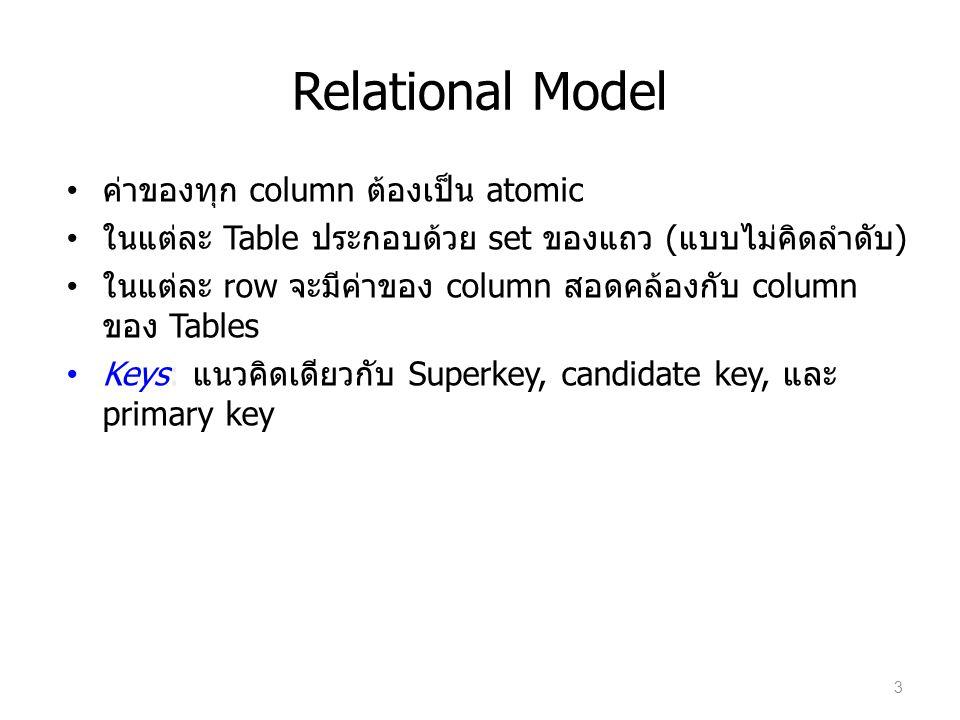 Relational Model ค่าของทุก column ต้องเป็น atomic