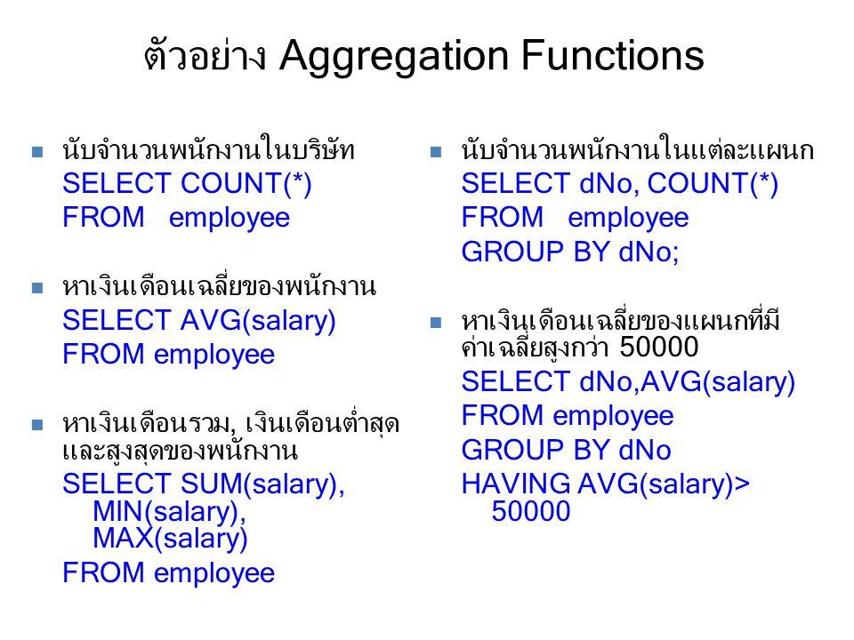 ตัวอย่าง Aggregation Functions