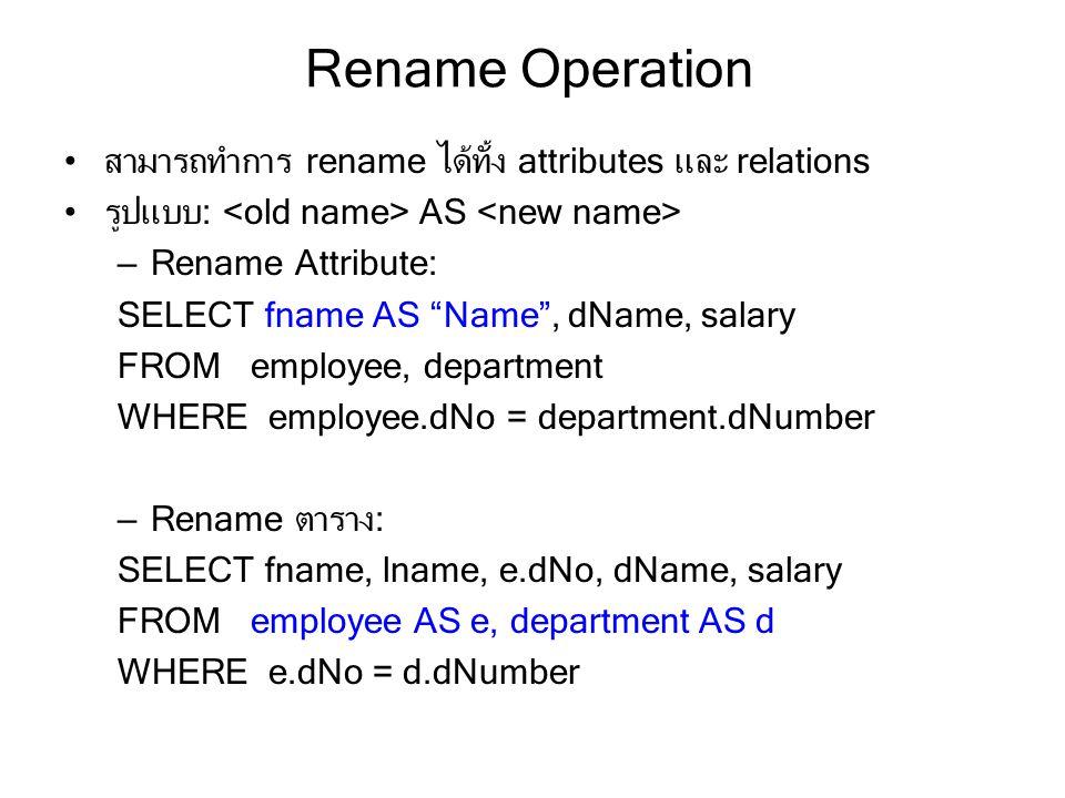 Rename Operation สามารถทำการ rename ได้ทั้ง attributes และ relations