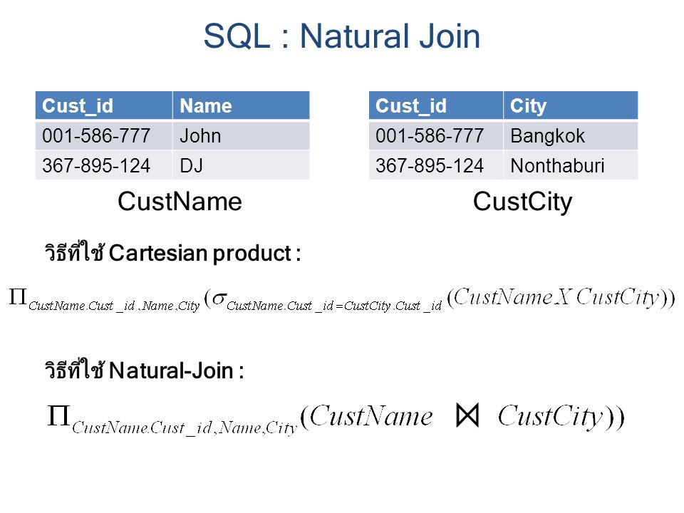 SQL : Natural Join CustName CustCity วิธีที่ใช้ Cartesian product :