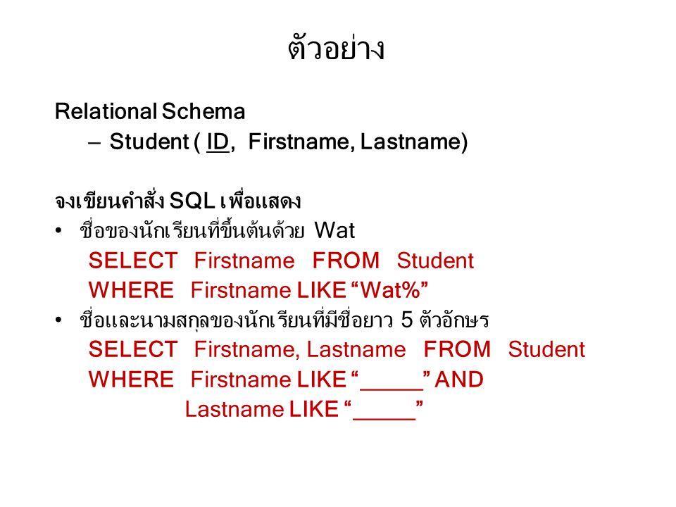ตัวอย่าง Relational Schema Student ( ID, Firstname, Lastname)