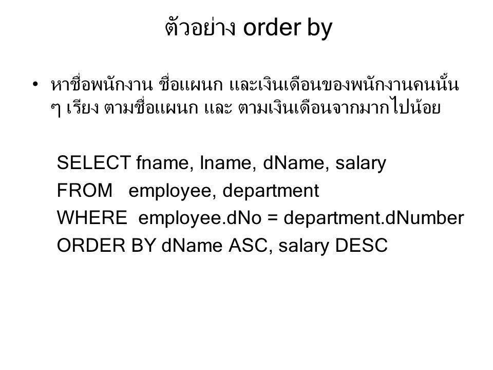 ตัวอย่าง order by หาชื่อพนักงาน ชื่อแผนก และเงินเดือนของพนักงานคนนั้น ๆ เรียง ตามชื่อแผนก และ ตามเงินเดือนจากมากไปน้อย.