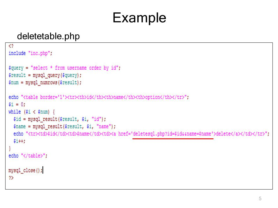 Example deletetable.php