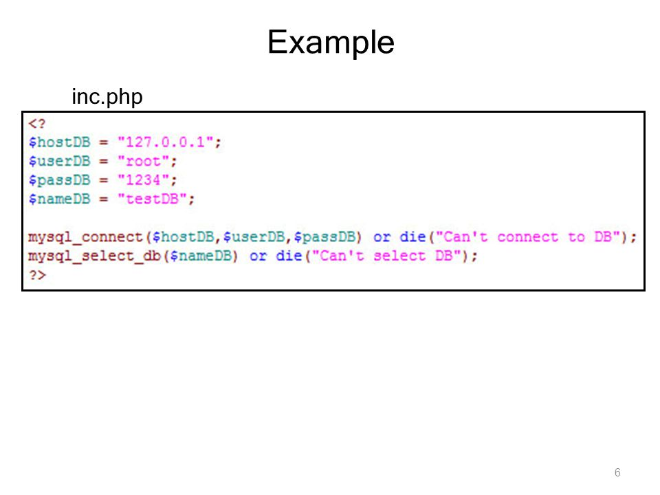 Example inc.php