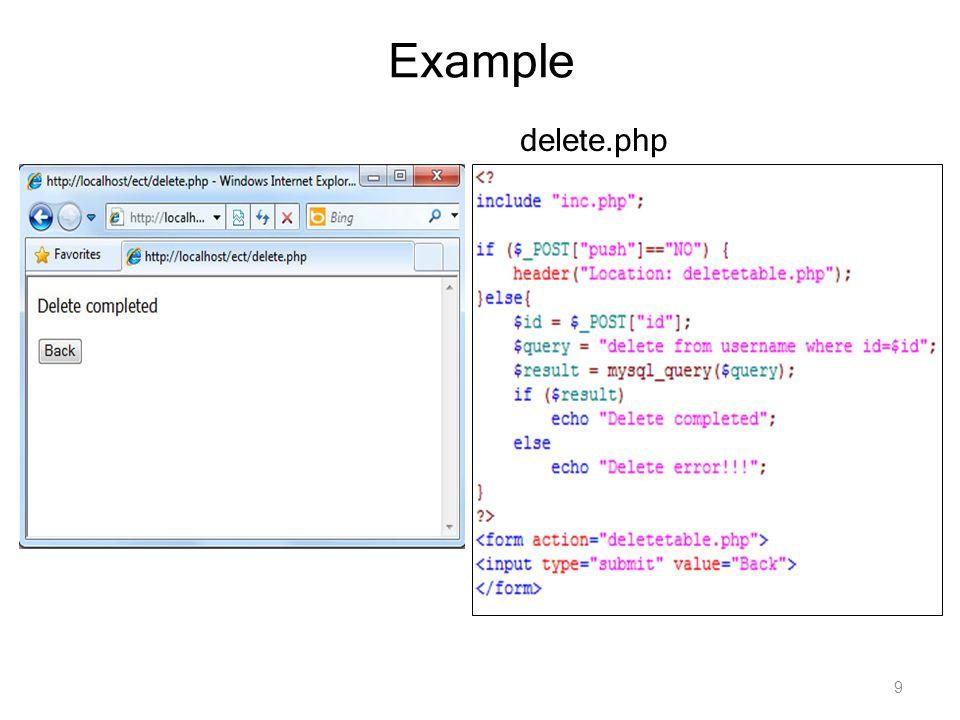 Example delete.php