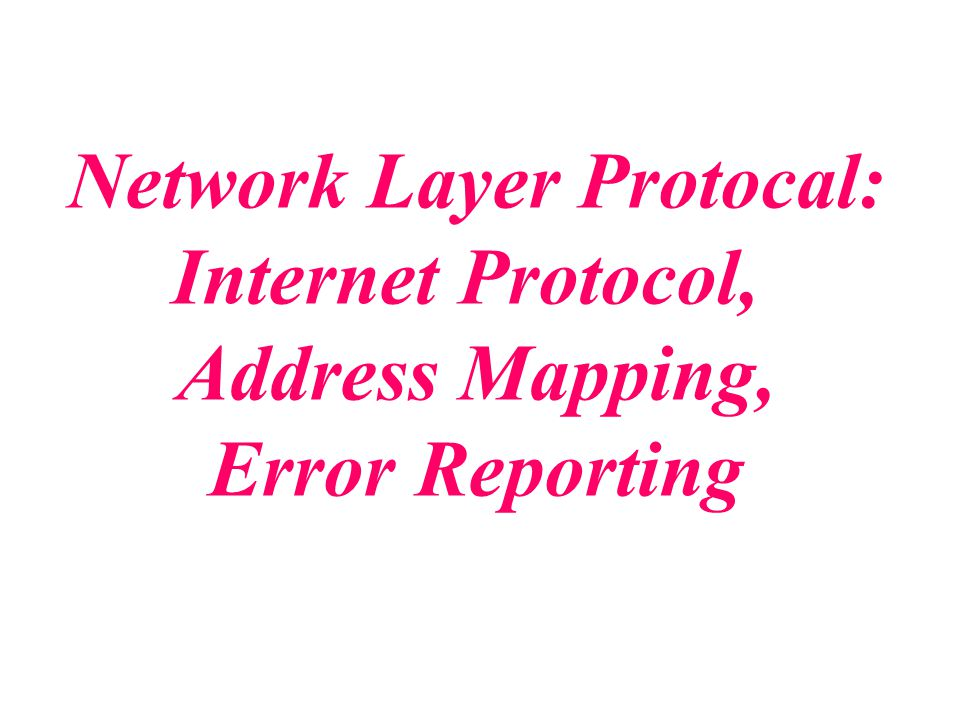 Network Layer Protocal: