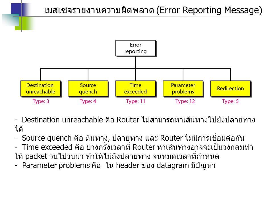 เมสเซจรายงานความผิดพลาด (Error Reporting Message)