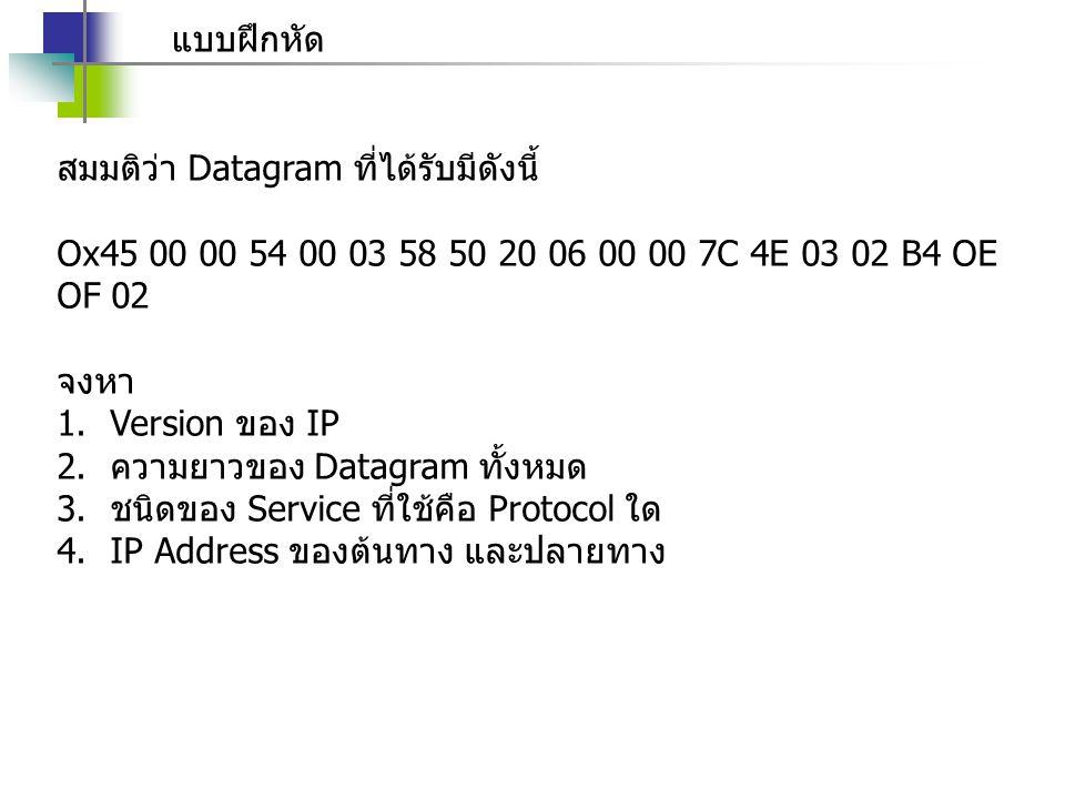 แบบฝึกหัด สมมติว่า Datagram ที่ได้รับมีดังนี้ Ox45 00 00 54 00 03 58 50 20 06 00 00 7C 4E 03 02 B4 OE OF 02.
