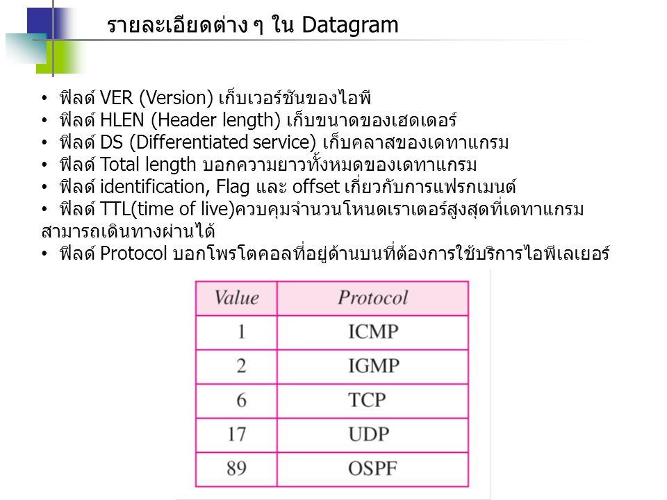 รายละเอียดต่าง ๆ ใน Datagram