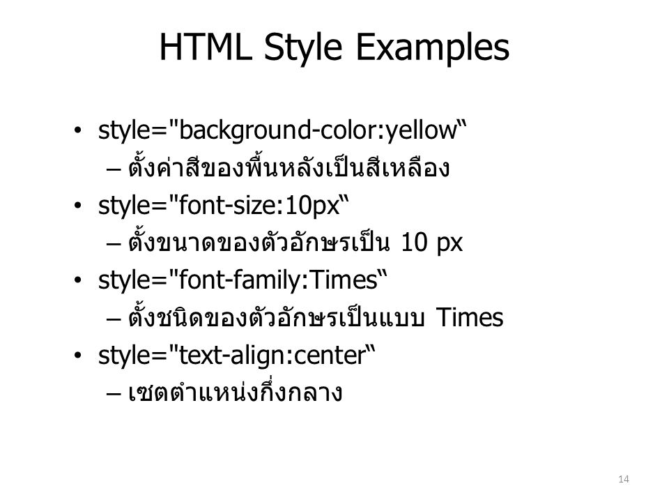 HTML Style Examples style= background-color:yellow