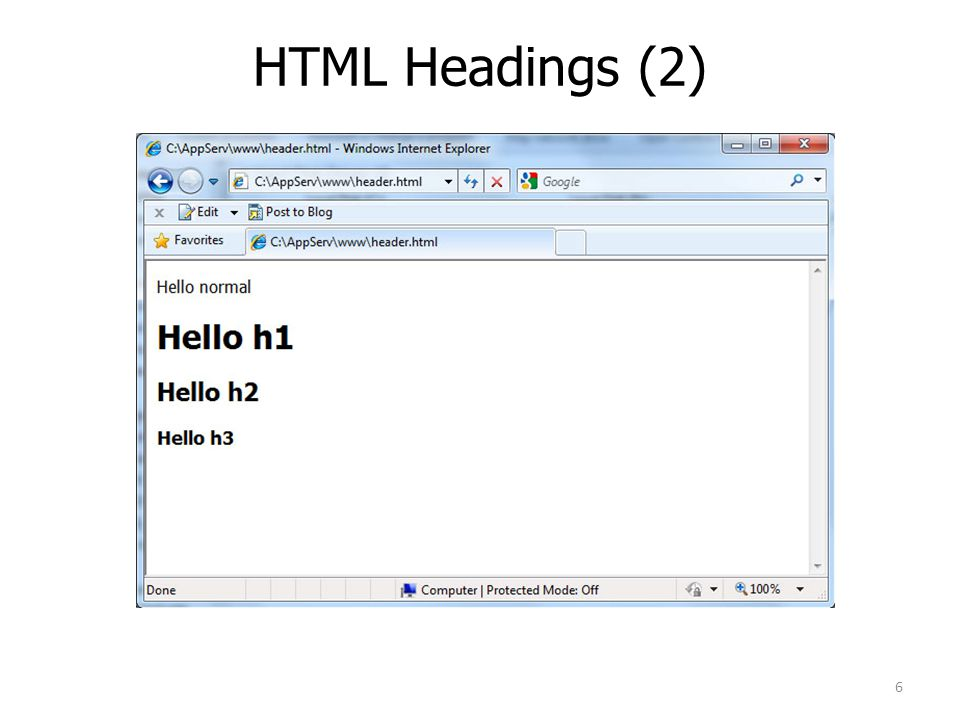 HTML Headings (2)