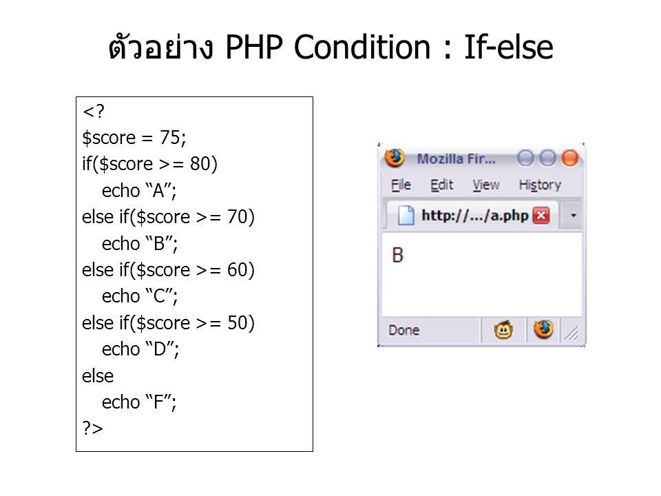 ตัวอย่าง PHP Condition : If-else