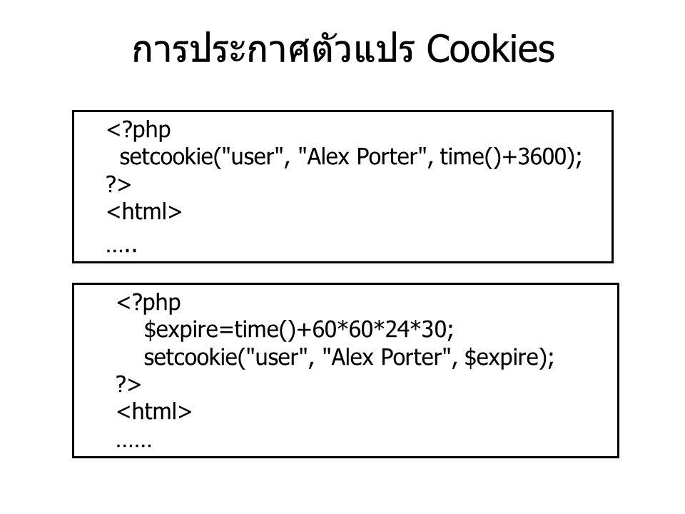 การประกาศตัวแปร Cookies