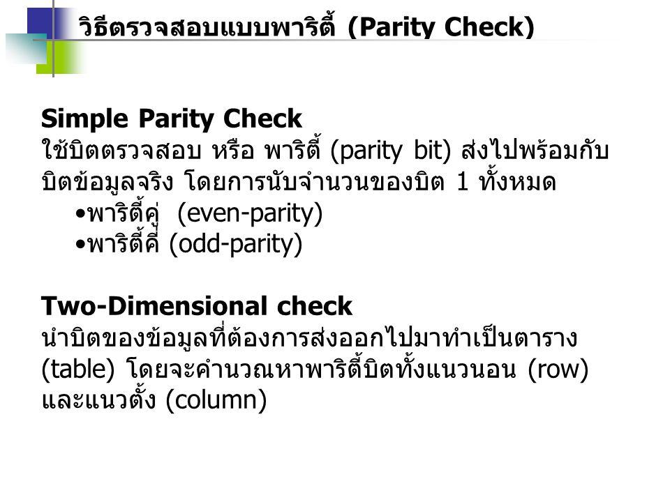 วิธีตรวจสอบแบบพาริตี้ (Parity Check)