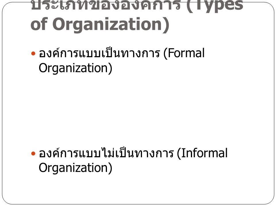 ประเภทขององค์การ (Types of Organization)