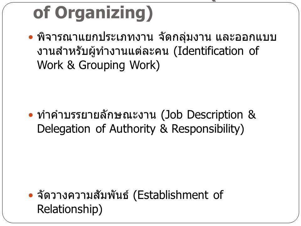 กระบวนการจัดองค์การ (Process of Organizing)