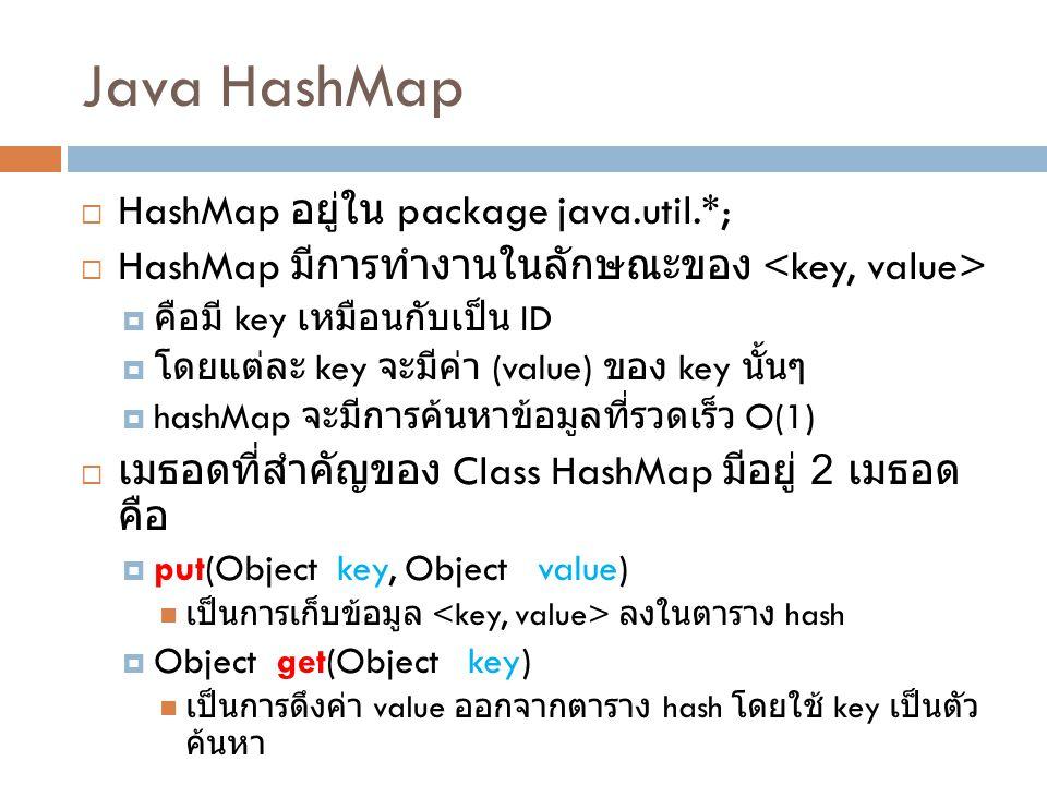 Java HashMap HashMap อยู่ใน package java.util.*;