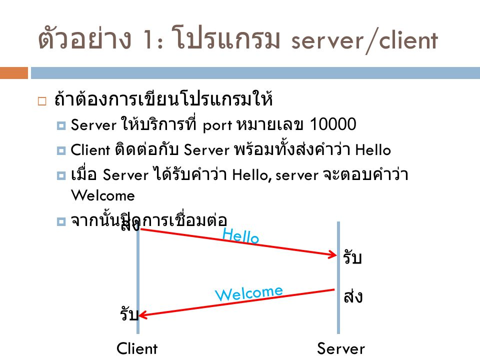 ตัวอย่าง 1: โปรแกรม server/client
