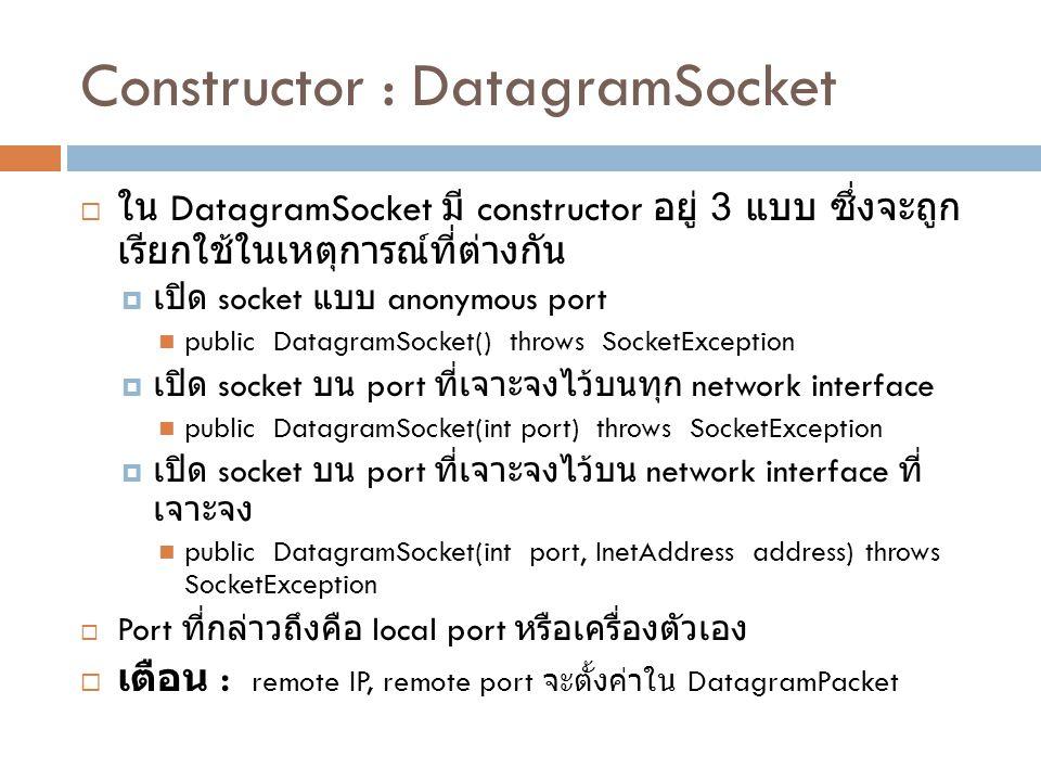 Constructor : DatagramSocket