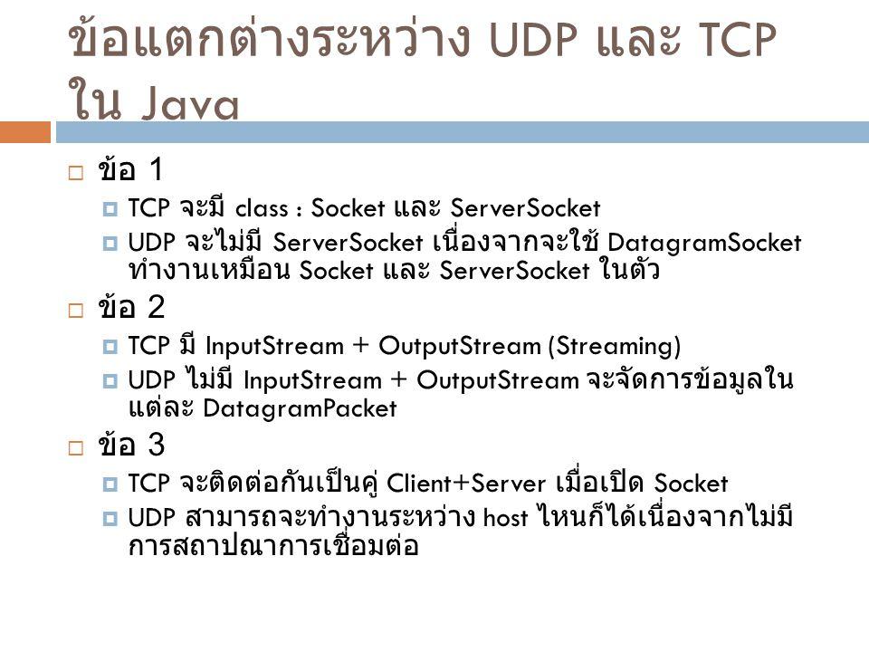 ข้อแตกต่างระหว่าง UDP และ TCP ใน Java