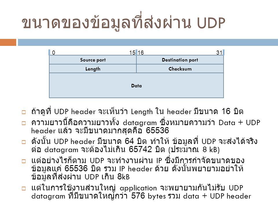 ขนาดของข้อมูลที่ส่งผ่าน UDP