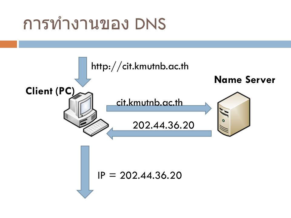 การทำงานของ DNS http://cit.kmutnb.ac.th Name Server Client (PC)