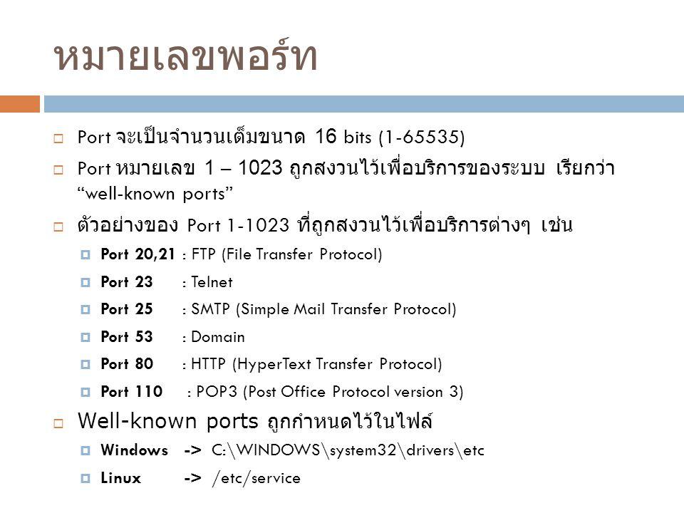 หมายเลขพอร์ท Port จะเป็นจำนวนเต็มขนาด 16 bits (1-65535)