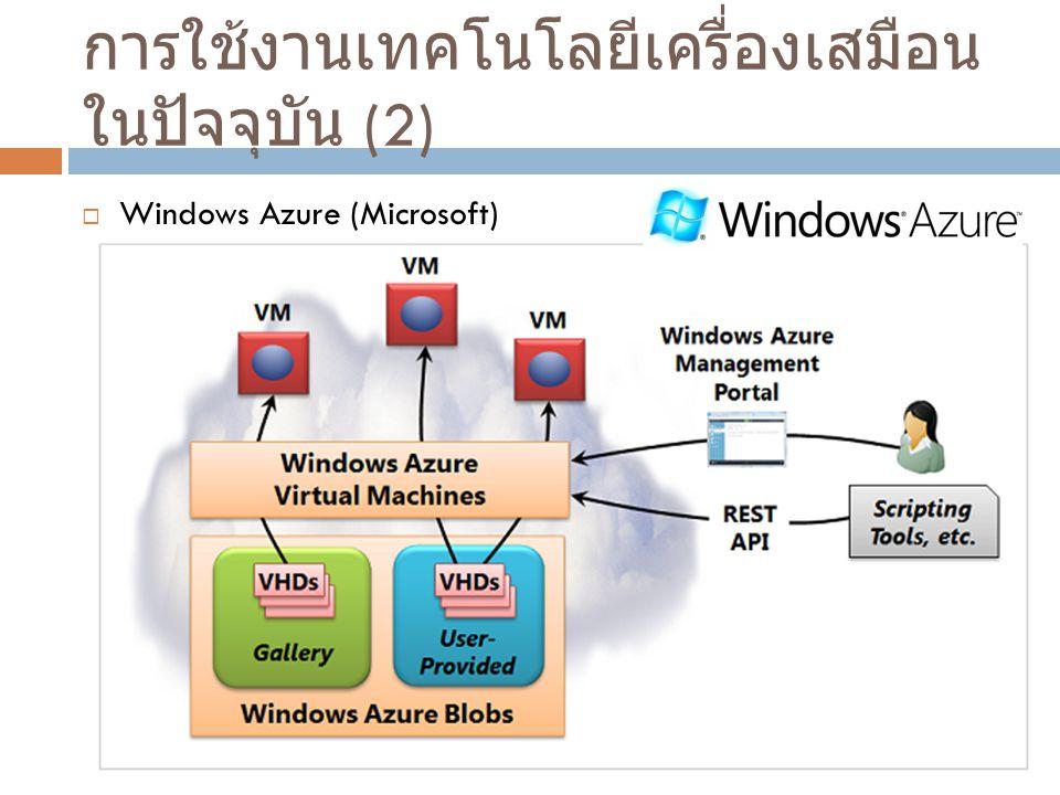 การใช้งานเทคโนโลยีเครื่องเสมือนในปัจจุบัน (2)